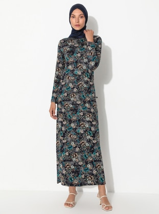 Navy Blue - Green - Floral - Crew neck - Unlined - Dress