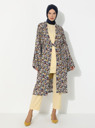 Navy Blue - Floral - Unlined - Viscose - Abaya