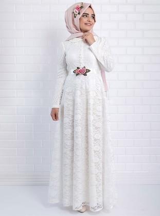 Ecru - Fully Lined - Round Collar - - Muslim Evening Dress