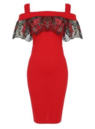 Red - Sweatheart Neckline - Fully Lined - Dress