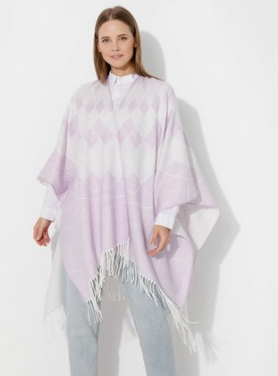 Lilac - Multi - Unlined - Acrylic - Wool Blend - Poncho