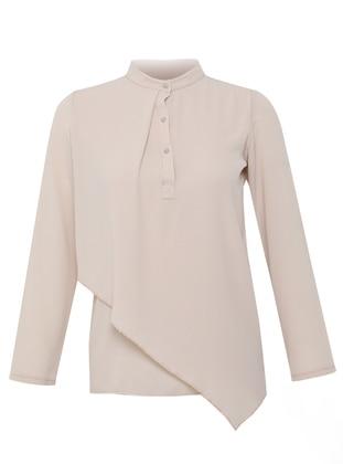 - Powder - Crew neck - Evening Blouses / Shirts - Mileny