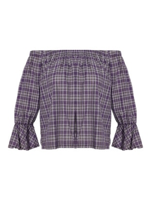 Lilac - Checkered - Blouses