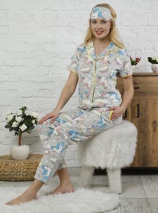 Gray - Point Collar - Multi -  - Pyjama Set