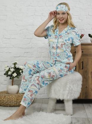 Mint - Point Collar - Multi -  - Pyjama Set