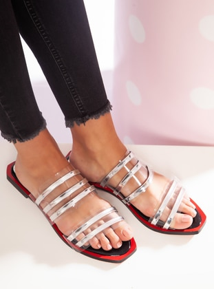 Silver tone - Red - Sandal - Slippers