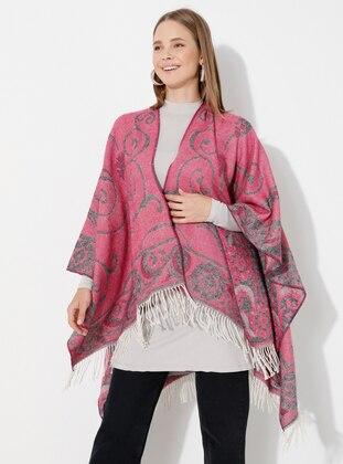 Fuchsia - Multi - Unlined - Acrylic - Wool Blend - Poncho