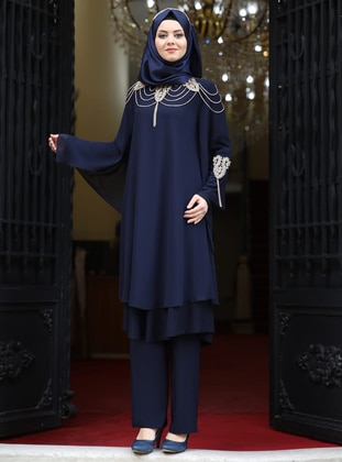 Fully Lined - Navy Blue - Crew neck - Chiffon - Evening Suit