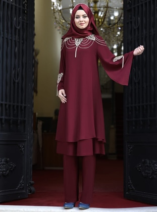 Fully Lined - Maroon - Crew neck - Chiffon - Evening Suit