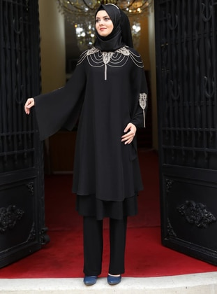 Fully Lined - Black - Crew neck - Chiffon - Evening Suit