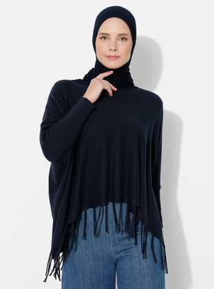 Navy Blue - Unlined - Acrylic -  -  - Knit Ponchos