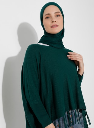 Green - Unlined - Acrylic -  -  - Knit Ponchos