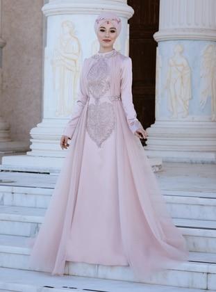 Powder - Powder - Fully Lined - Crew neck - Muslim Evening Dress
