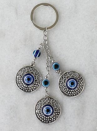 Evil Eye Bead Detail Large Round Figured Keychain - Blue - Tect Bijouterie