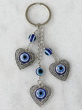 Evil Eye Bead Detail Heart Figured Keychain - Blue - Takıştır Bijuteri