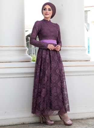 Dusty Rose - Dusty Rose - Fully Lined - Crew neck - Muslim Evening Dress