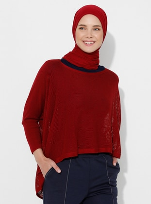 Maroon - Unlined - Acrylic -  -  - Knit Ponchos