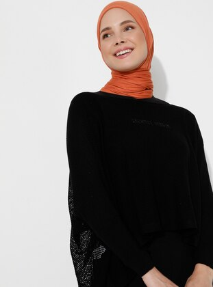 Black - Unlined - Acrylic -  -  - Knit Ponchos