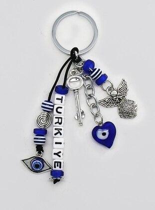 Turkey Text Angel Figured Bead Detail Keychain - Blue