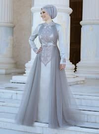Gray - Gray - Fully Lined - Crew neck - Muslim Evening Dress