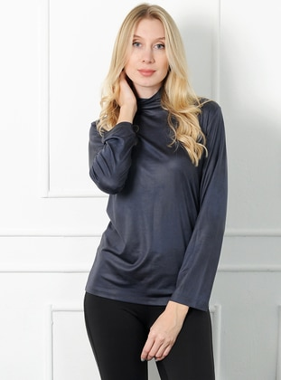 Anthracite - Polo neck - Acrylic - Blouses