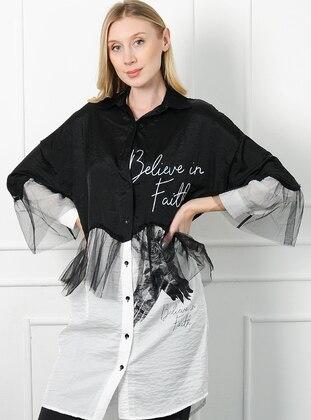Black - Multi - Point Collar -  - Tunic