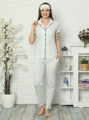 Sea-green - Shawl Collar - Stripe -  - Pyjama Set