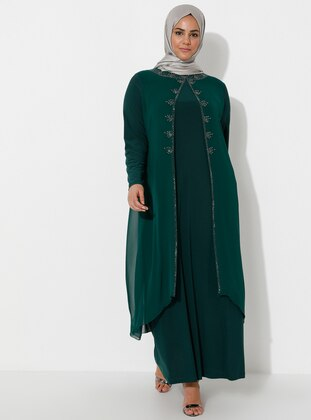 Green Almond - Fully Lined - Crew neck - Muslim Plus Size Evening Dress