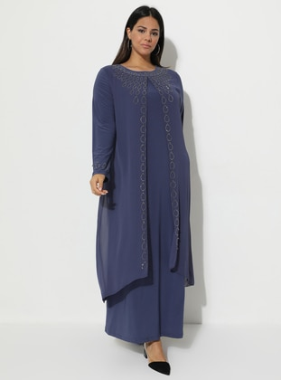 Indigo - Fully Lined - Crew neck - Muslim Plus Size Evening Dress