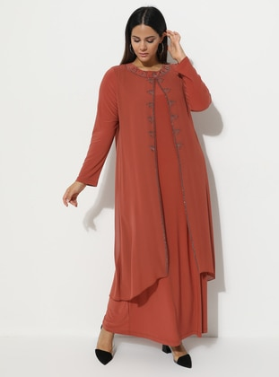 Terra Cotta - Fully Lined - Crew neck - Muslim Plus Size Evening Dress