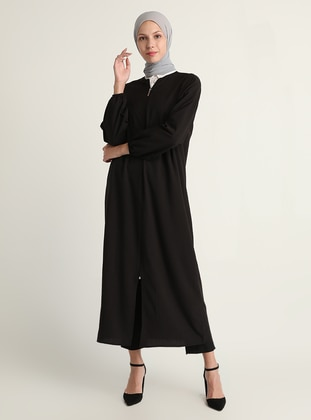 Black - Unlined - Crew neck - Abaya - Modanisa
