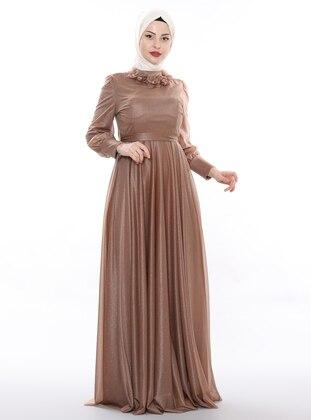 Beige - Fully Lined - Crew neck - Viscose - Muslim Evening Dress