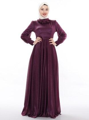 Purple - Fully Lined - Crew neck - Viscose - Muslim Evening Dress