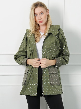 Khaki - Polka Dot - Unlined -  - Puffer Jackets