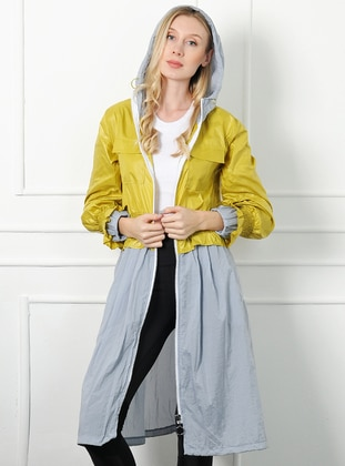 Yellow - Unlined -  - Trench Coat