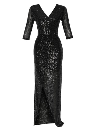 Black - Fully Lined - V neck Collar - Muslim Evening Dress