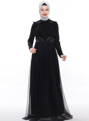 Black - Fully Lined - Crew neck - Viscose - Muslim Evening Dress