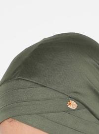 Khaki - Plain - Pinless - Instant Scarf