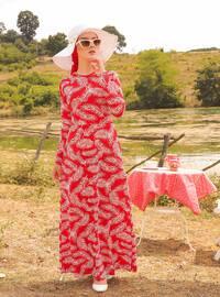 Kırmızı - Çok renkli - Yuvarlak yakalı - Astarsız - Elbise