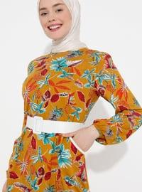 Mustard - Multi - Crew neck - Unlined -  - Dress