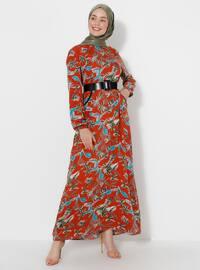 Terra Cotta - Multi - Crew neck - Unlined -  - Dress