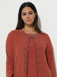 Terra Cotta - Fully Lined - Crew neck - Muslim Plus Size Evening Dress