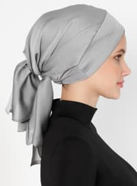 Silver tone - Plain - Pinless - Instant Scarf