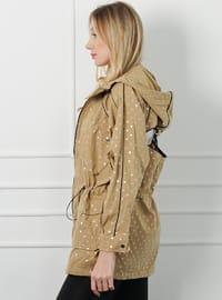 Beige - Polka Dot - Unlined -  - Puffer Jackets