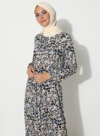 Mavi - Çiçekli - Yuvarlak yakalı - Astarsız - Elbise