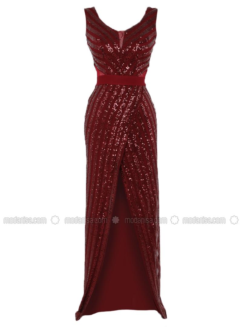 Maroon - Fully Lined - V neck Collar - Muslim Evening Dress