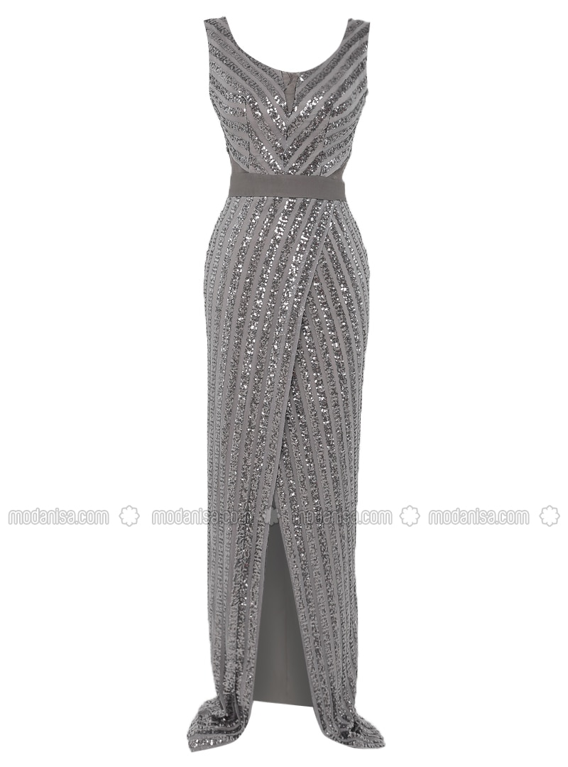 Gray - Fully Lined - V neck Collar - Muslim Evening Dress