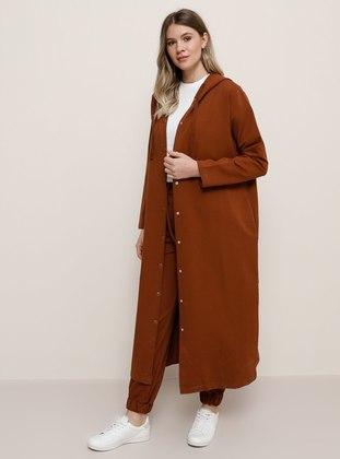 Tan - Cinnamon - Unlined -  - Plus Size Coat