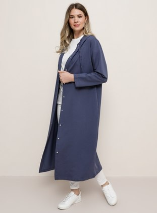 Purple - Unlined -  - Plus Size Coat - Alia