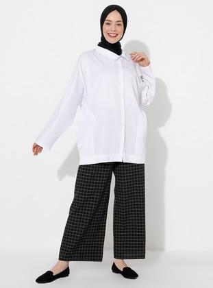 Black - Checkered -  - Pants